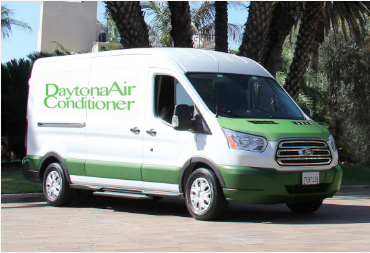 Photo of a Daytona Air Conditioner service van parked and ready to head to customer locations around the area.